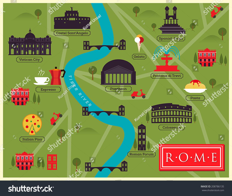 City Map Illustration Rome Landmarks Vector Stock Vector