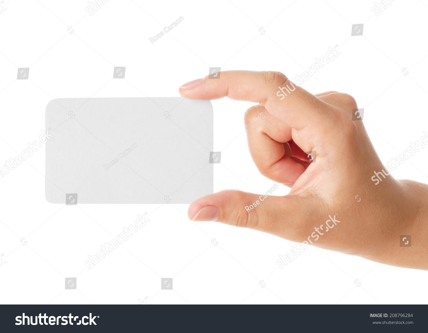 Hand Holding Business Card Isolated On Stock Photo 208796284 ...