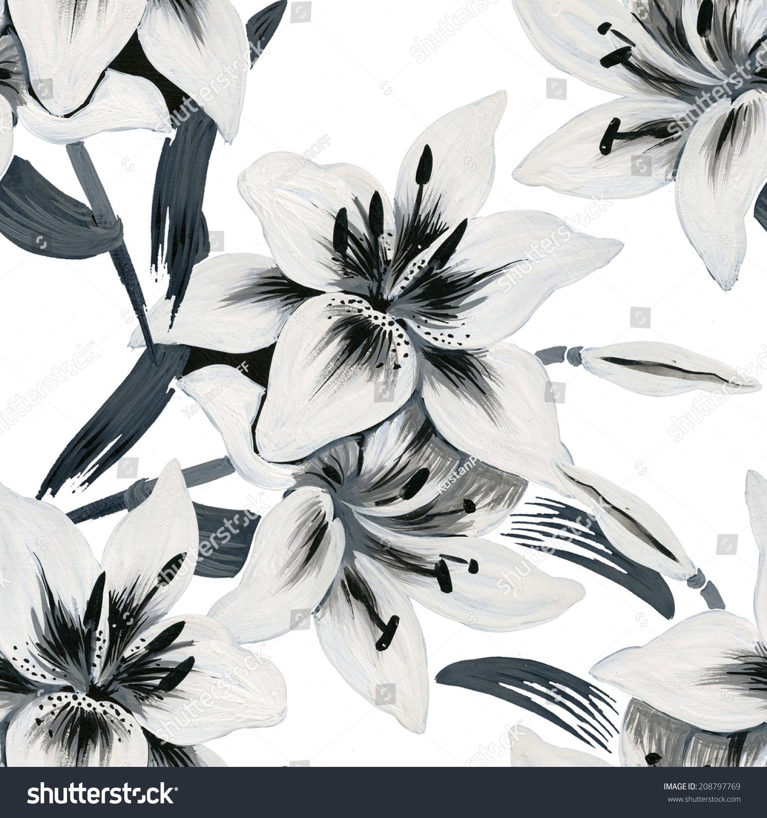 Beautiful Lilies Flowers Seamless Pattern On Stock Vector 208797769