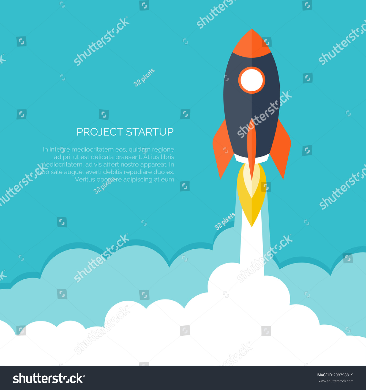 Rockets To The Moon: Rocket Ship Flat Stylevector Illustration 3d Stock Vector