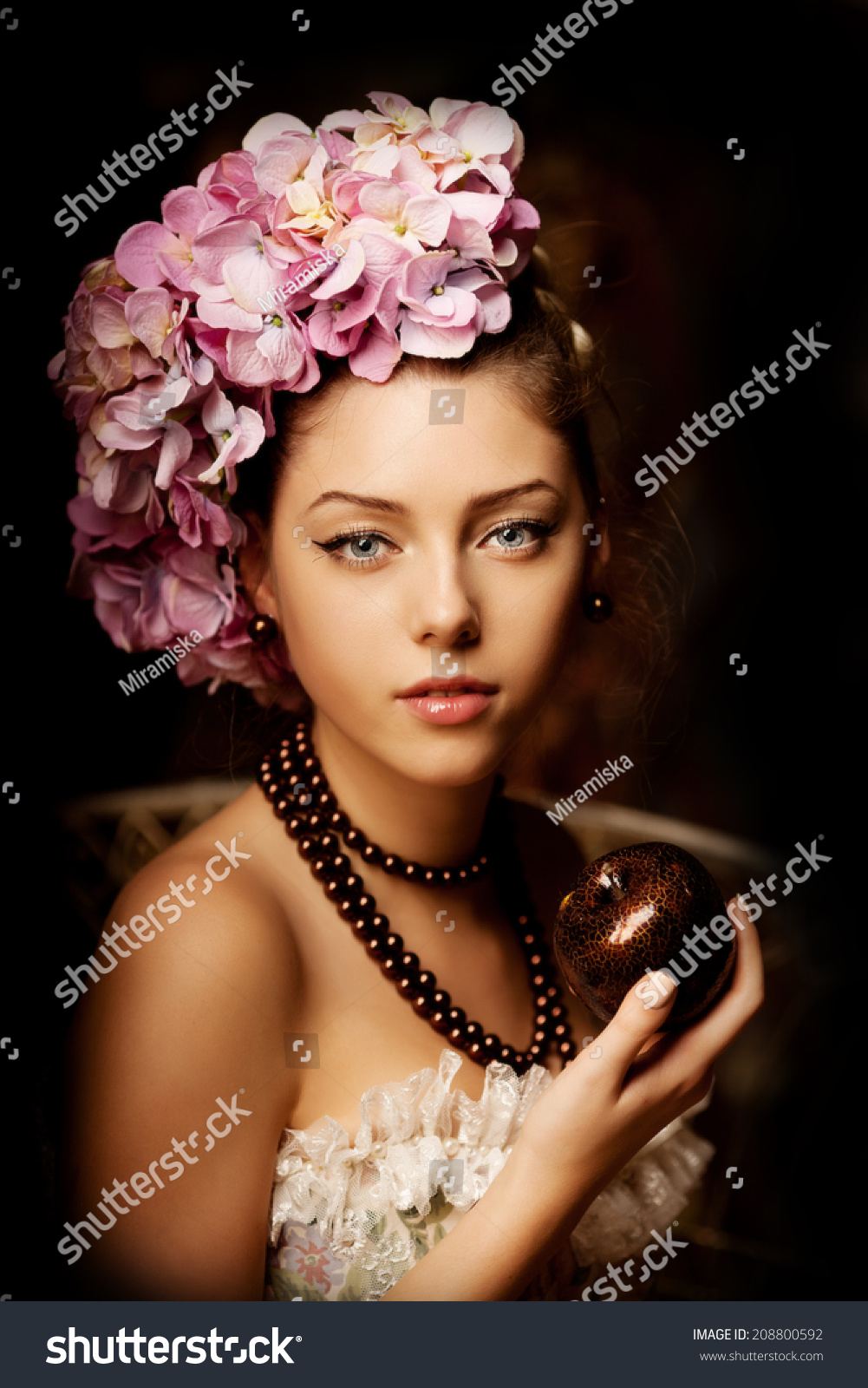 Retro Woman Girl Vintage Style Flowers Stock Photo Edit Now
