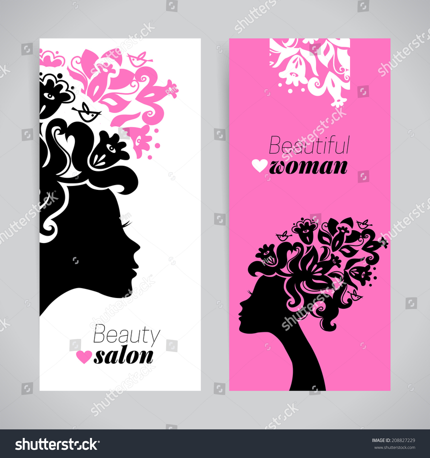 Banners Beautiful Women Silhouettes Flowers Beauty Stock Vector Royalty Free 208827229