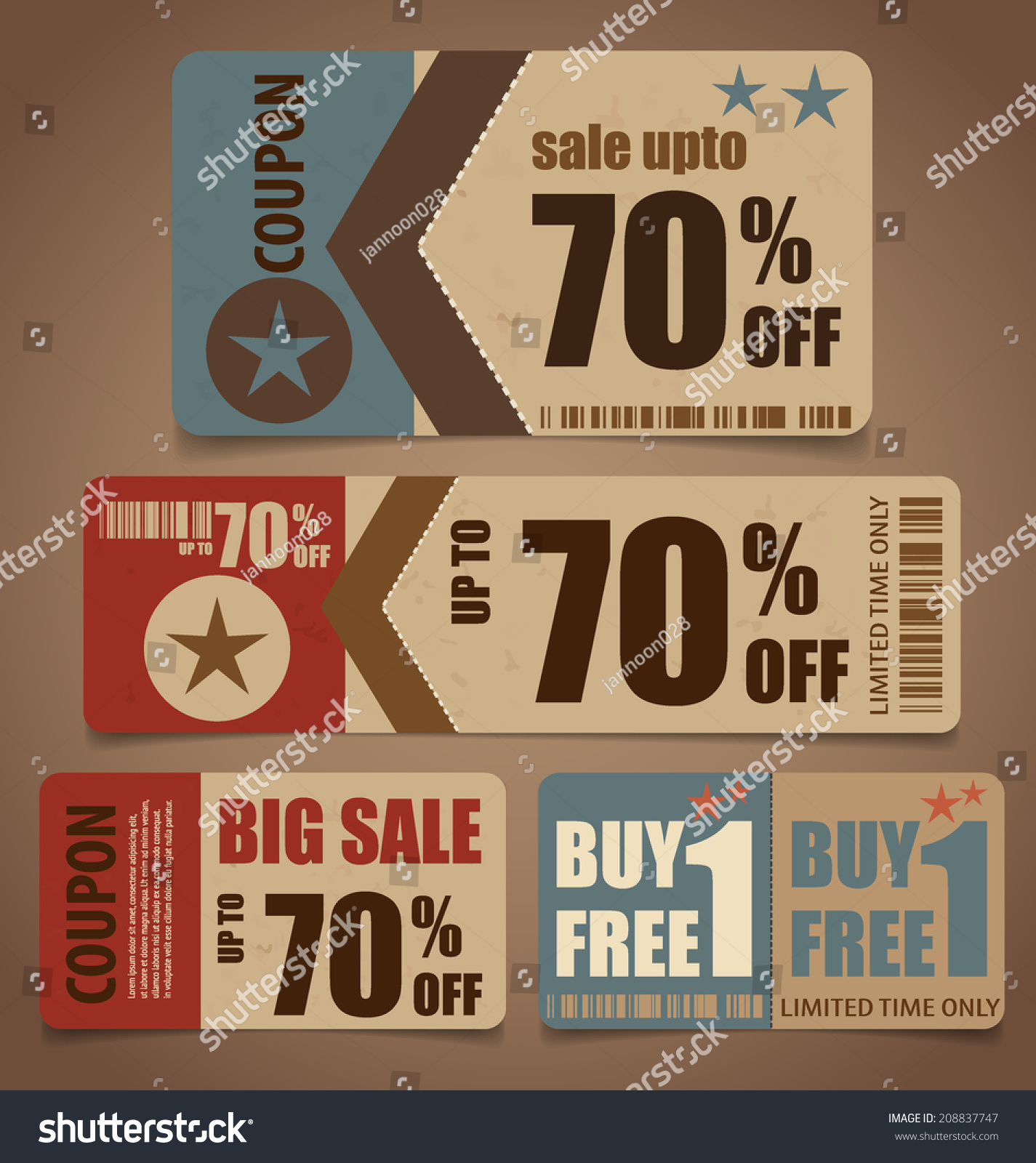 Vintage stock coupons