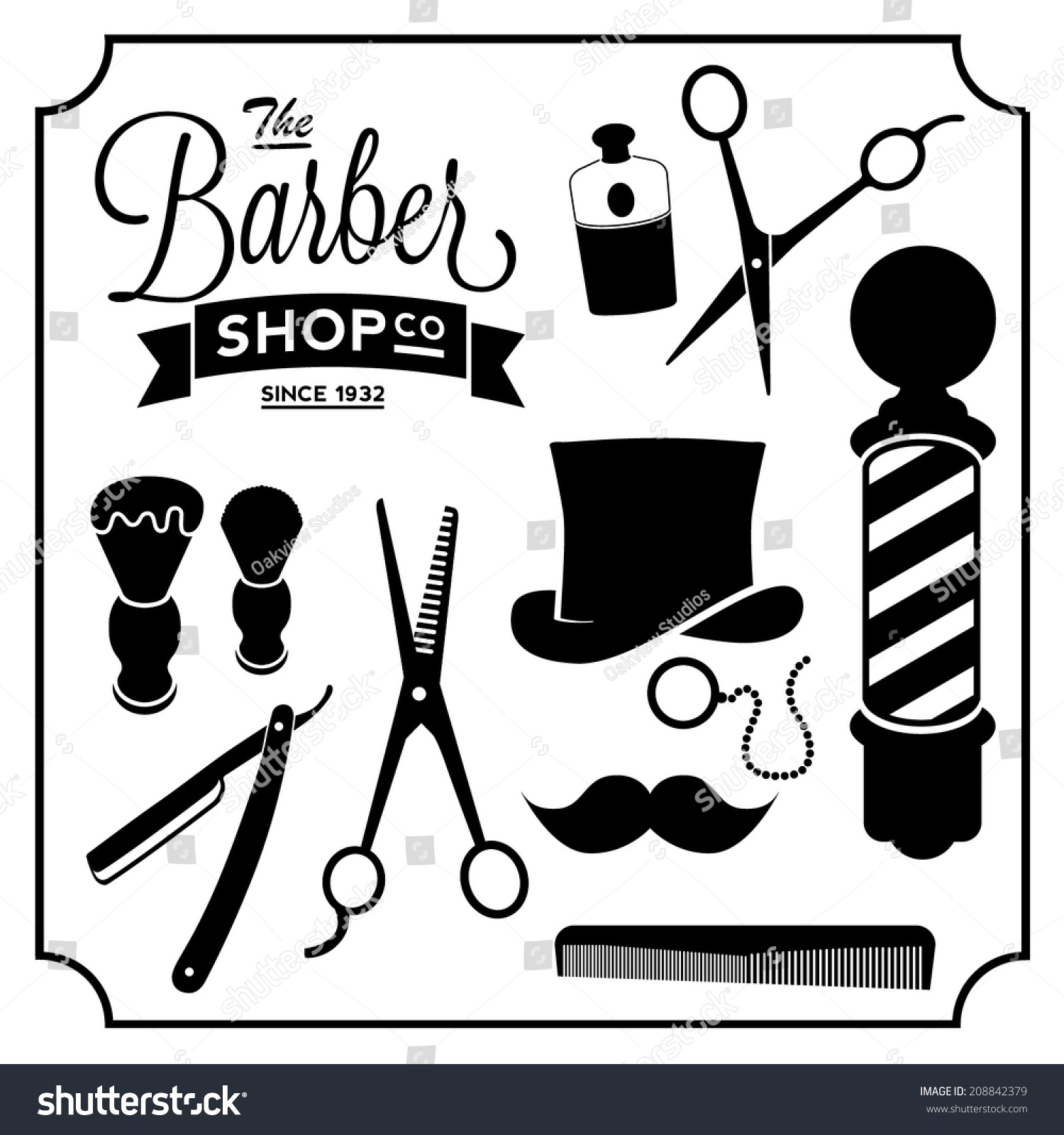 Barber Shop Items Set Vintage Stock Vector 208842379 : Shutterstock