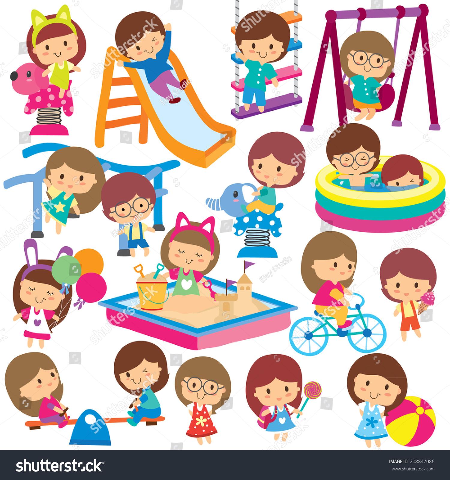 Kids Playground Clip Art Set Stock Vector 208847086