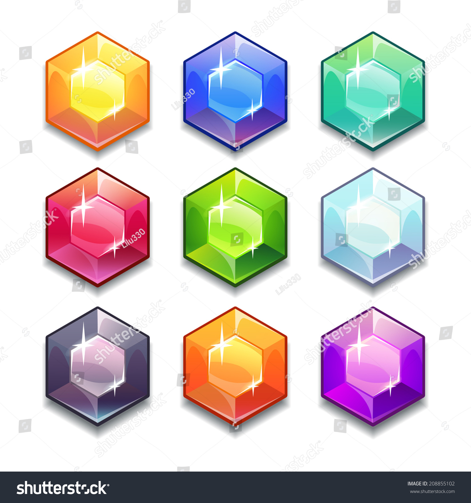 Cartoon Colored Marbles : Cartoon vector gems and diamonds icons set in different