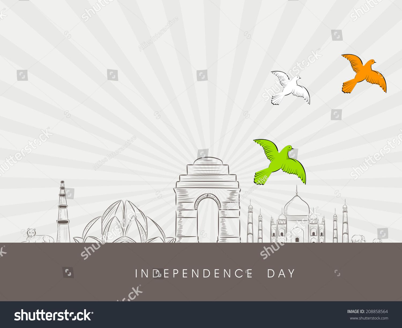 Indian Famous Monuments Sketch Qutub Minar, Lotus Temple ...
