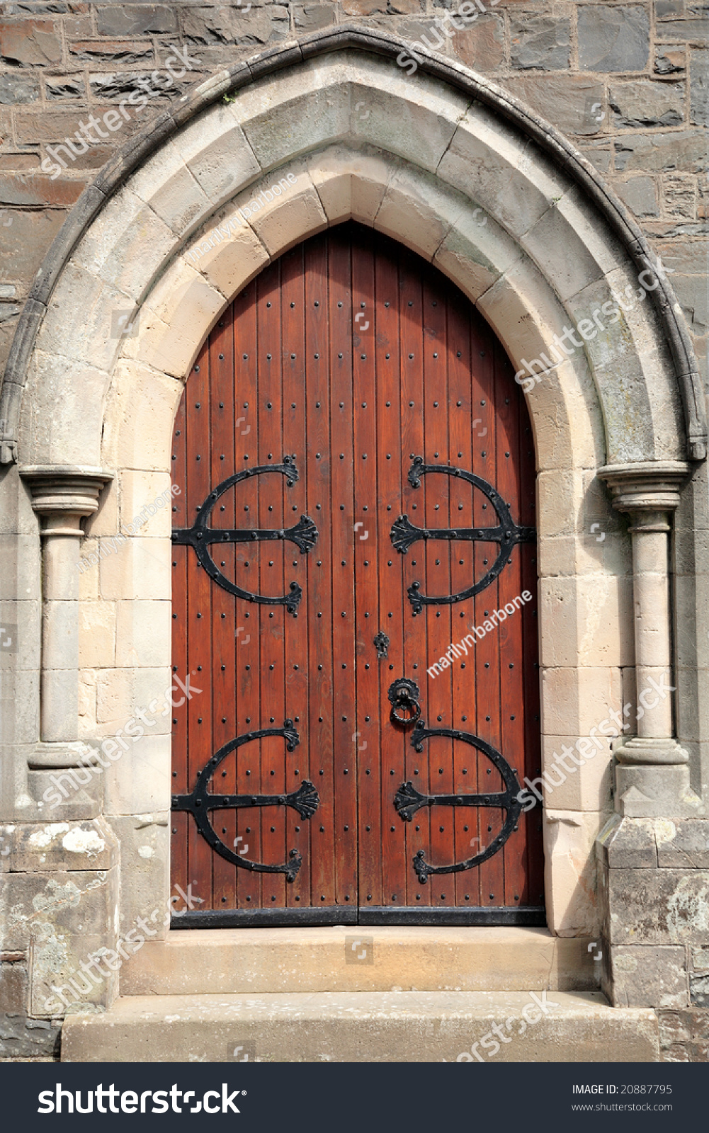 Old Wooden Oak Arched Gothic Church Doorway With Black
