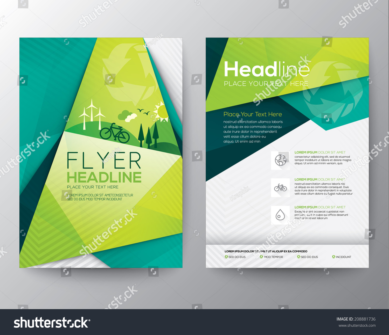 Abstract Triangle Brochure Flyer Design Vector Stock Vector 208881736 ...