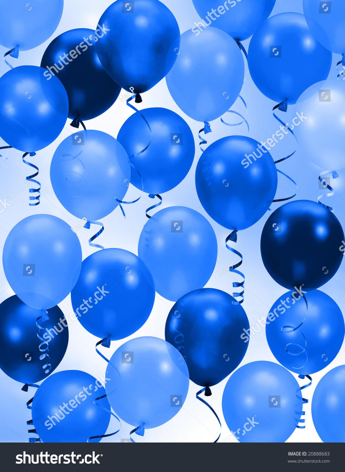 celebration birthday party blue balloons background stock