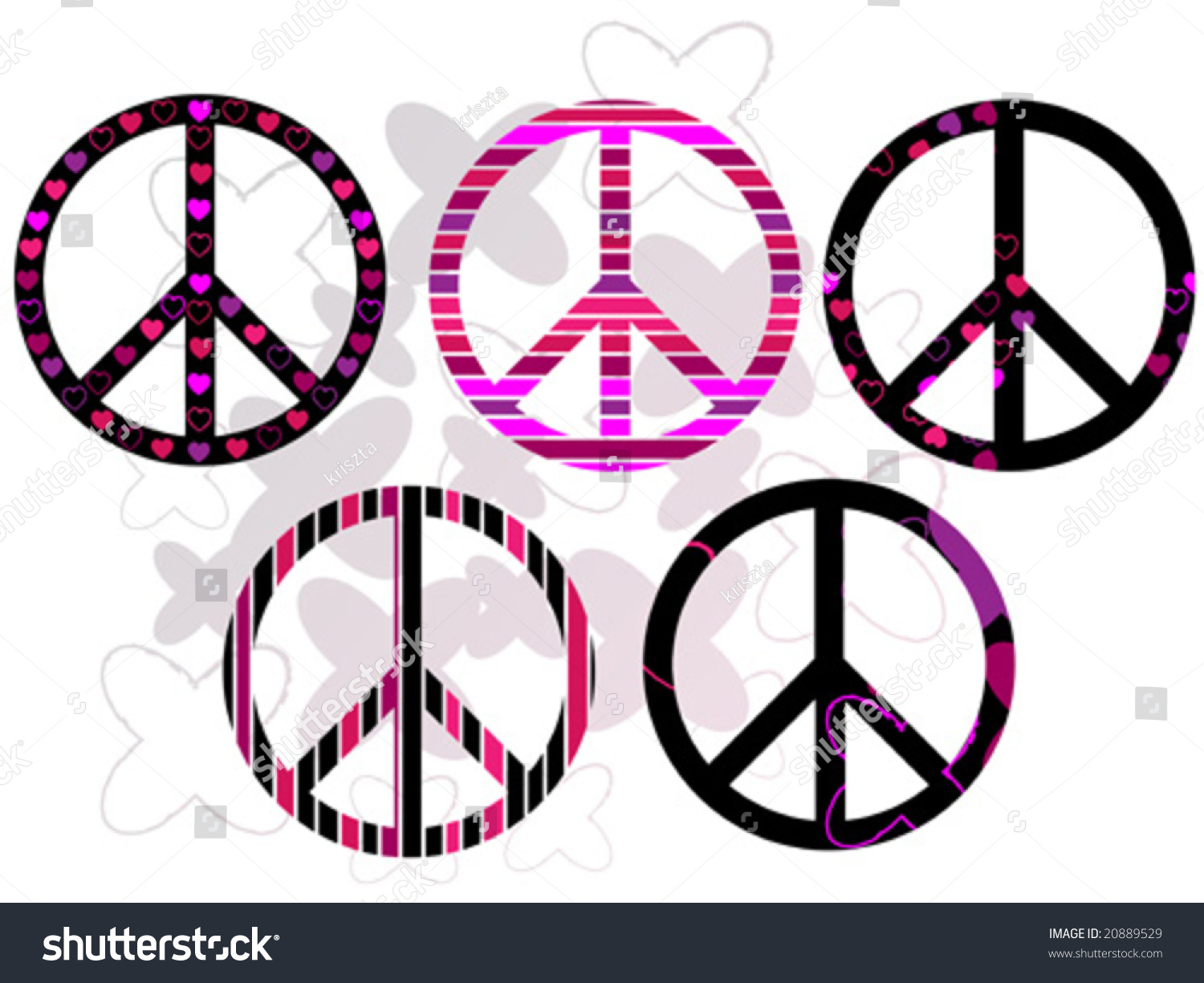 Peace Signs Different Ways Stock Vector Royalty Free 20889529