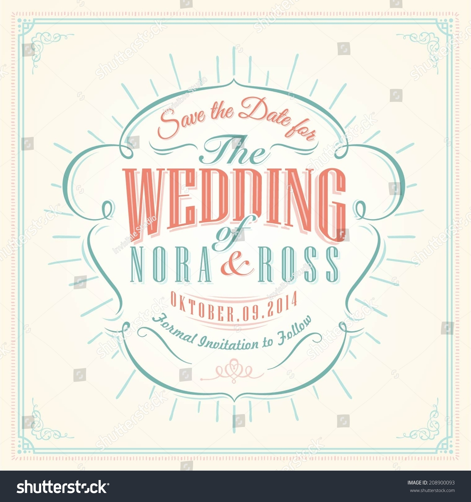 Save Date Personal Holiday Wedding Invitation Stock Vector 208900093 ...