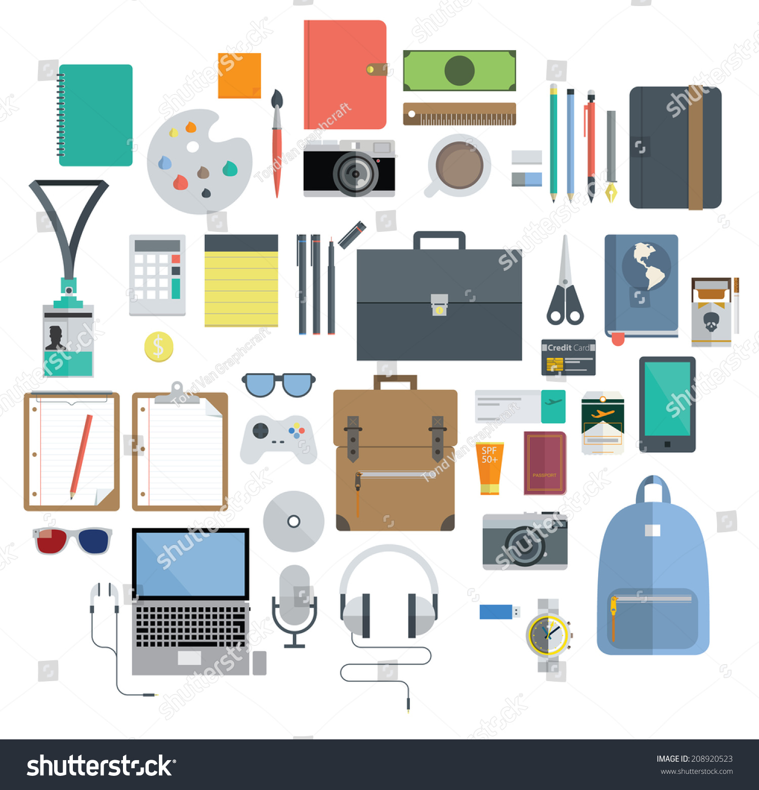 Icon Set Of Office Equipment Travel Gadget And Hobby In Flat Design Vector 208920523