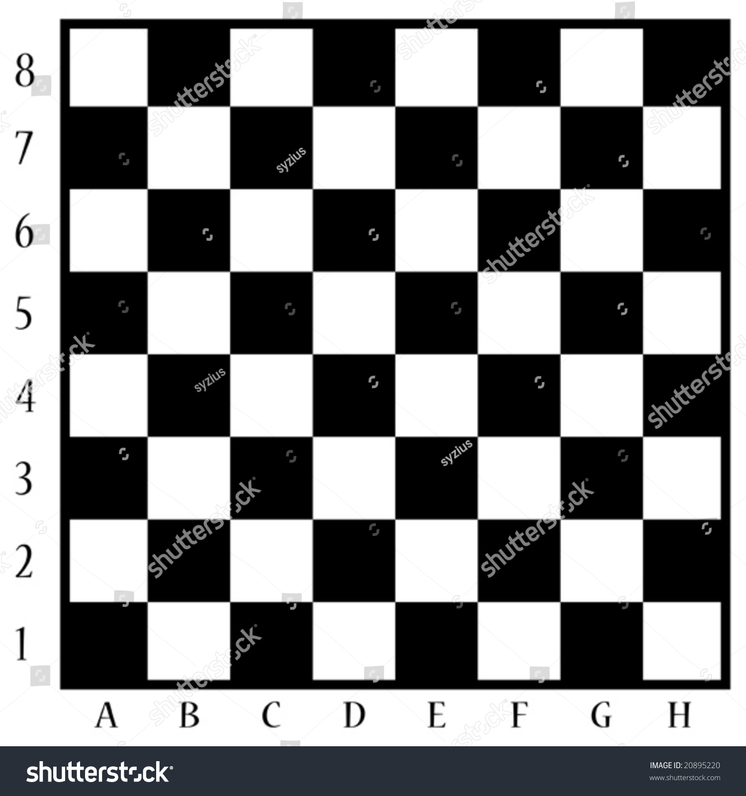 Chess board with numbers on the side