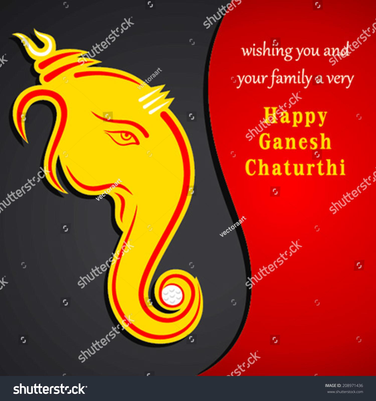 Creative Ganesh Chaturthi Festival Greeting Card Stock Vector