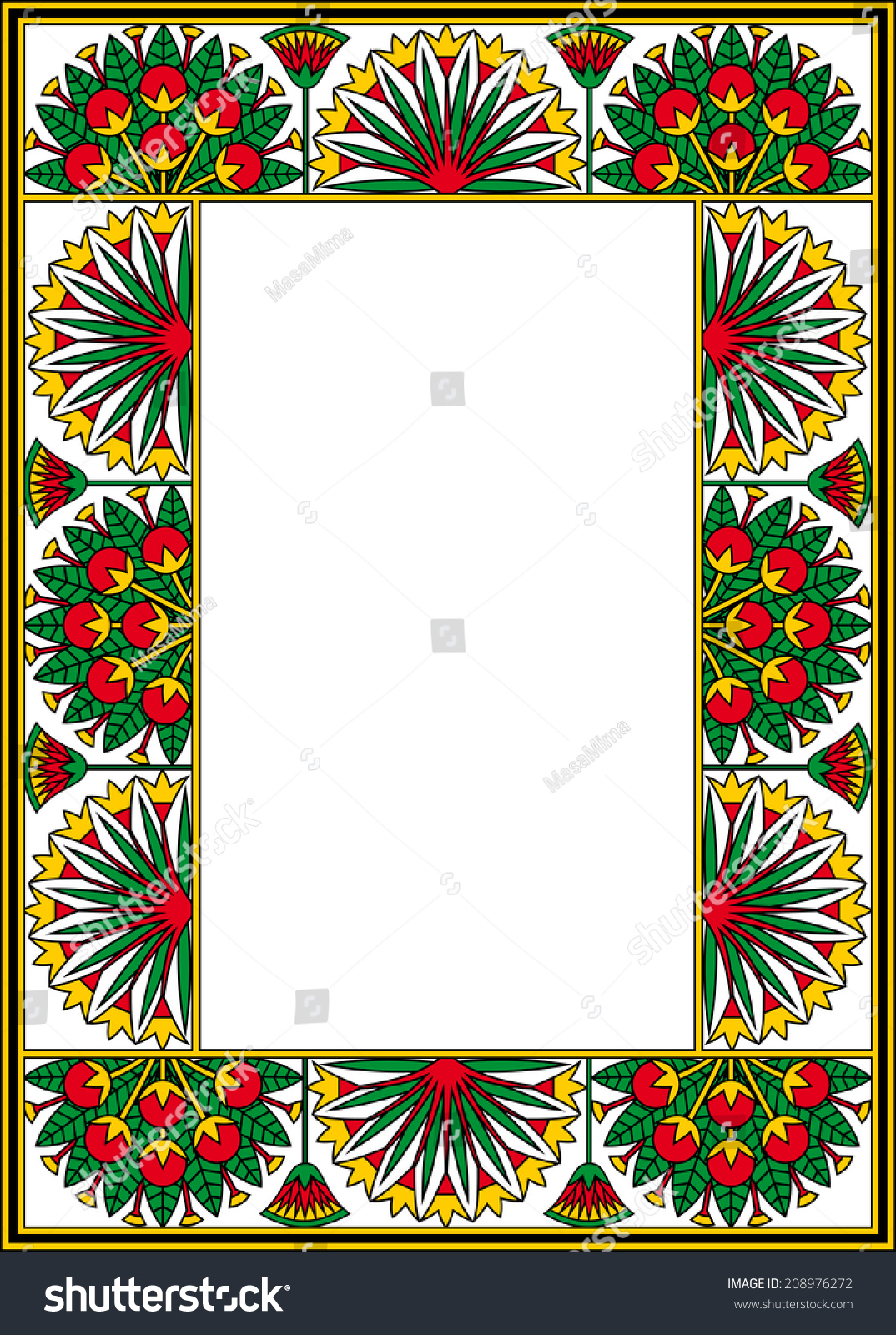 Egyptian Frame Papyrus Flowers Berries Isolated Stock Vector ...