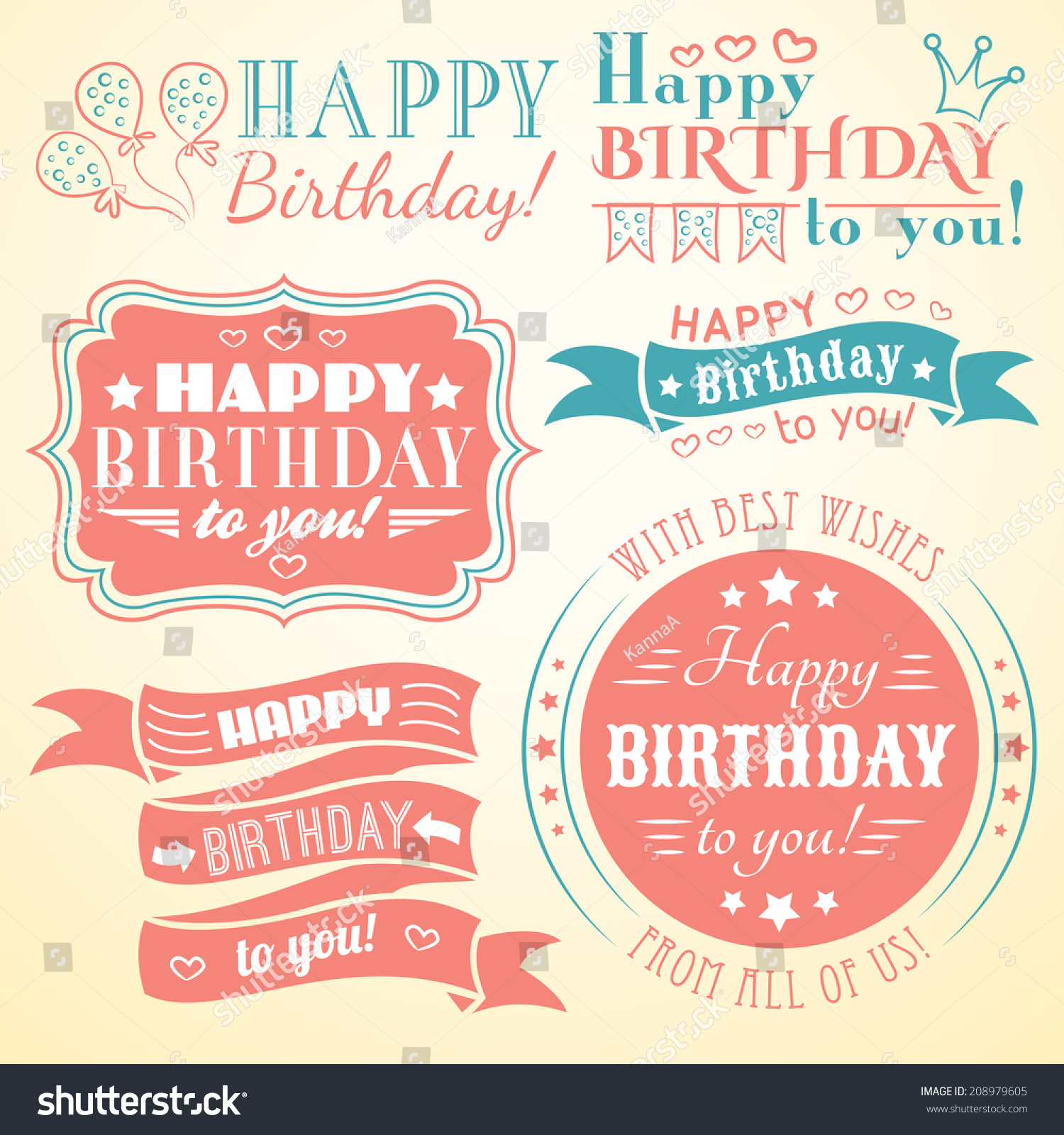 happy birthday letter style happy birthday greeting card collection stock 8820