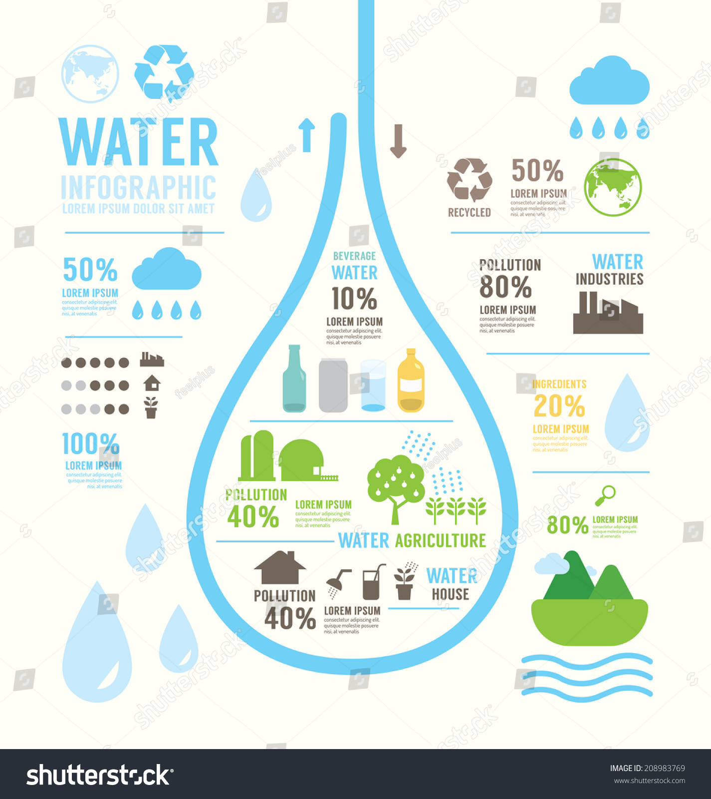 infographic water eco annual report template stock vector infographic water eco annual report template design concept vector illustration