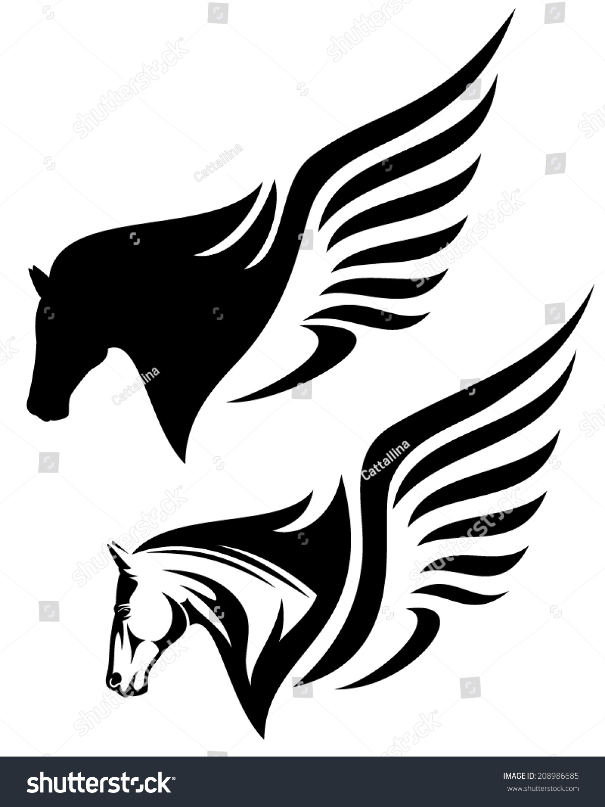 pegasus profile head design winged horse stock vector 208986685