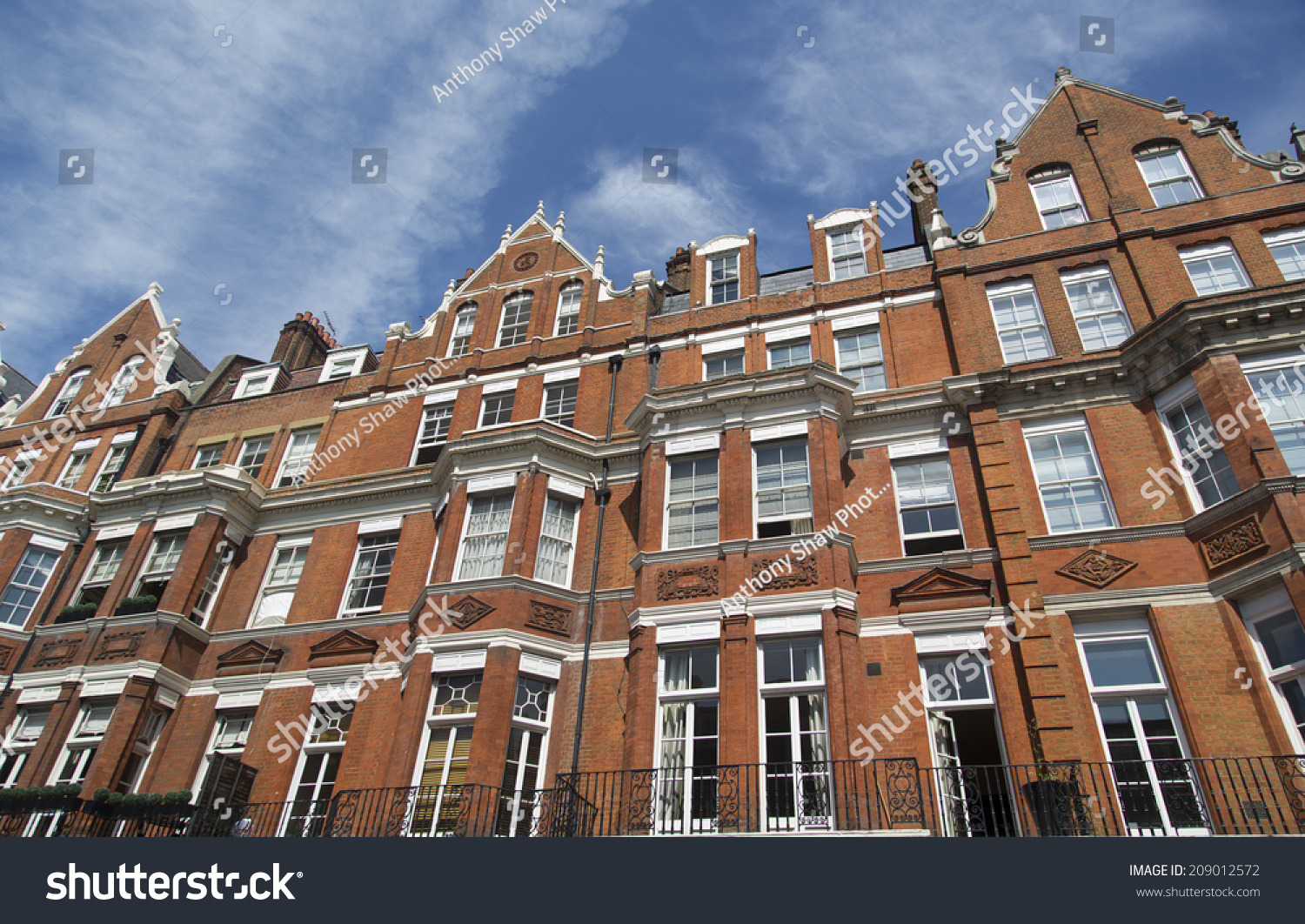 Row Red Brick Apartments Mayfair London Stock Photo (Royalty Free ...
