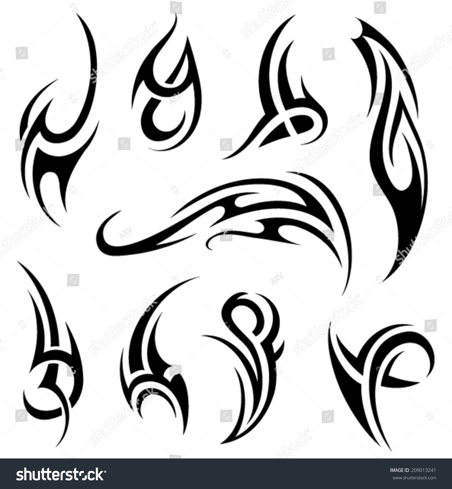 Tribal tattoo stock vector illustration 209013241 for Images of tribal tattoos