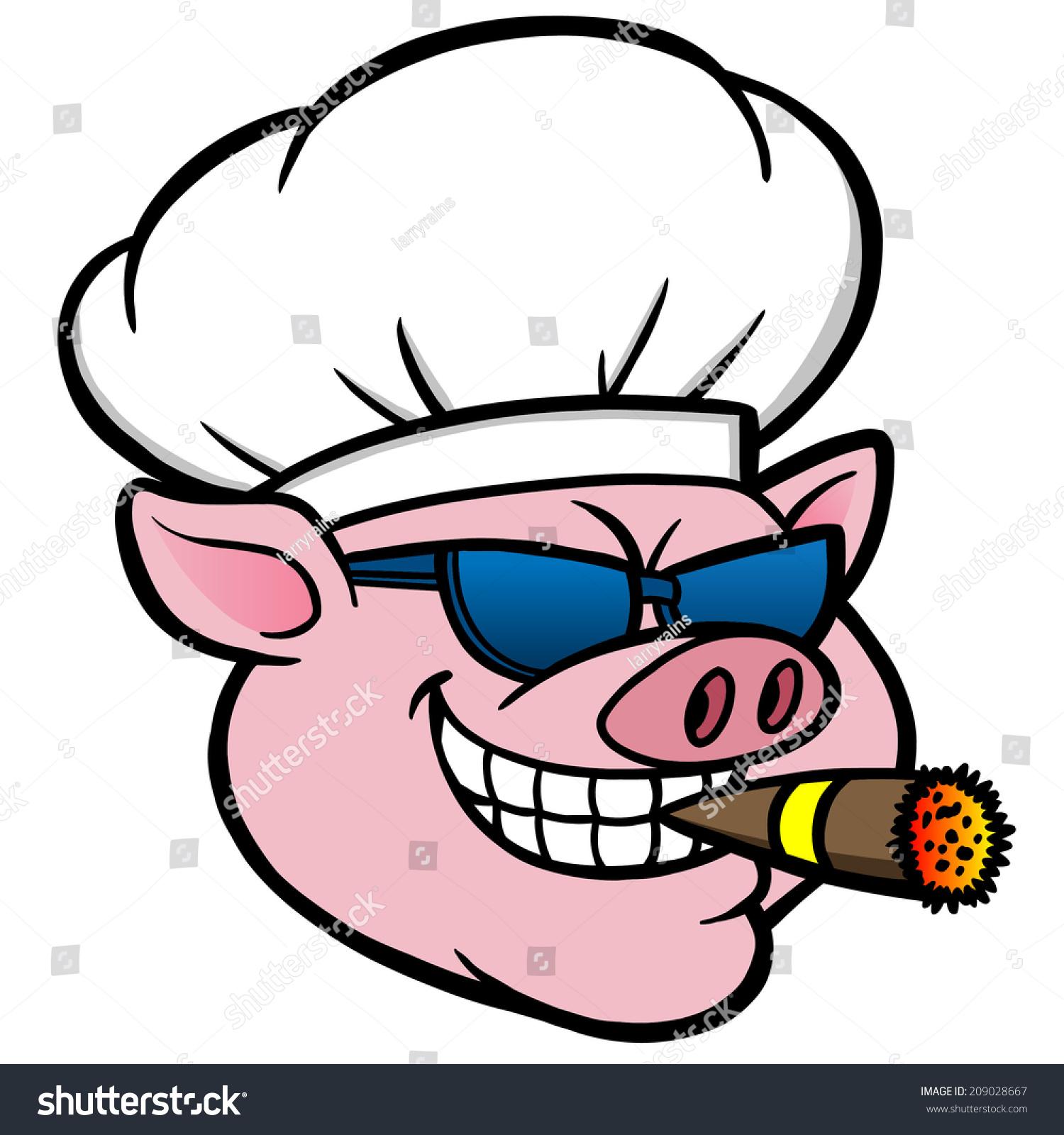 smoking bbq pig stock vector 209028667 shutterstock