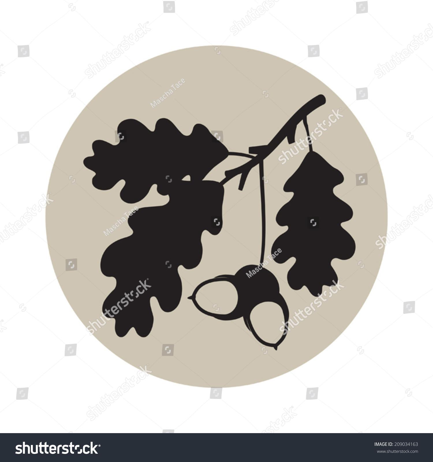 vector silhouette oak leaves acorns on stock vector 209034163