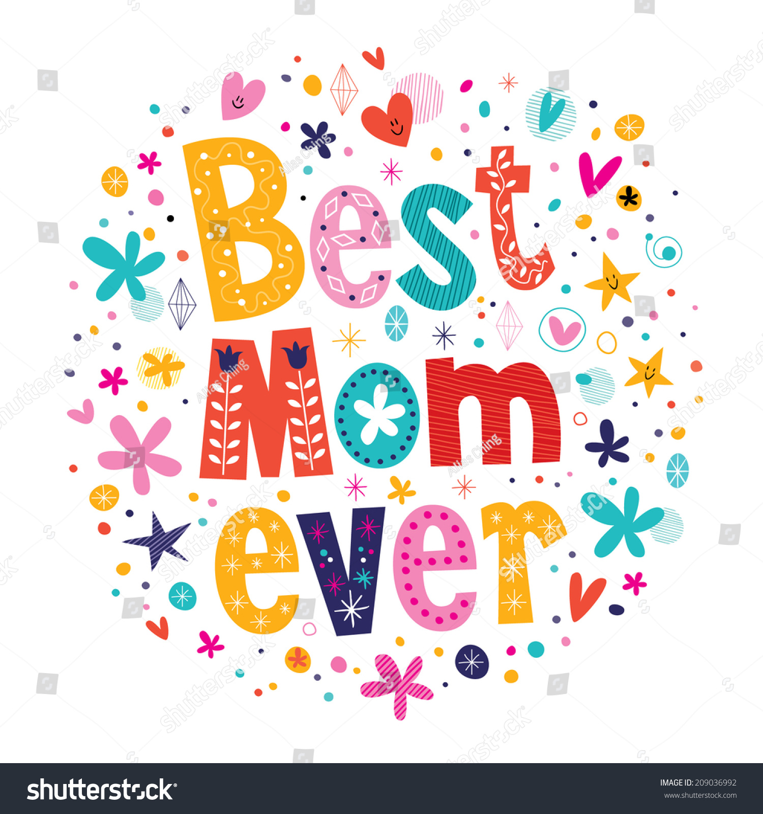 Happy Mothers Day Card Design Hand Stock Vector 209036992 ...