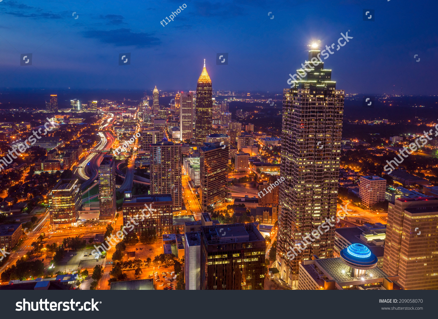 skyline downtown atlanta georgia usa stock photo 209058070 shutterstock. Black Bedroom Furniture Sets. Home Design Ideas