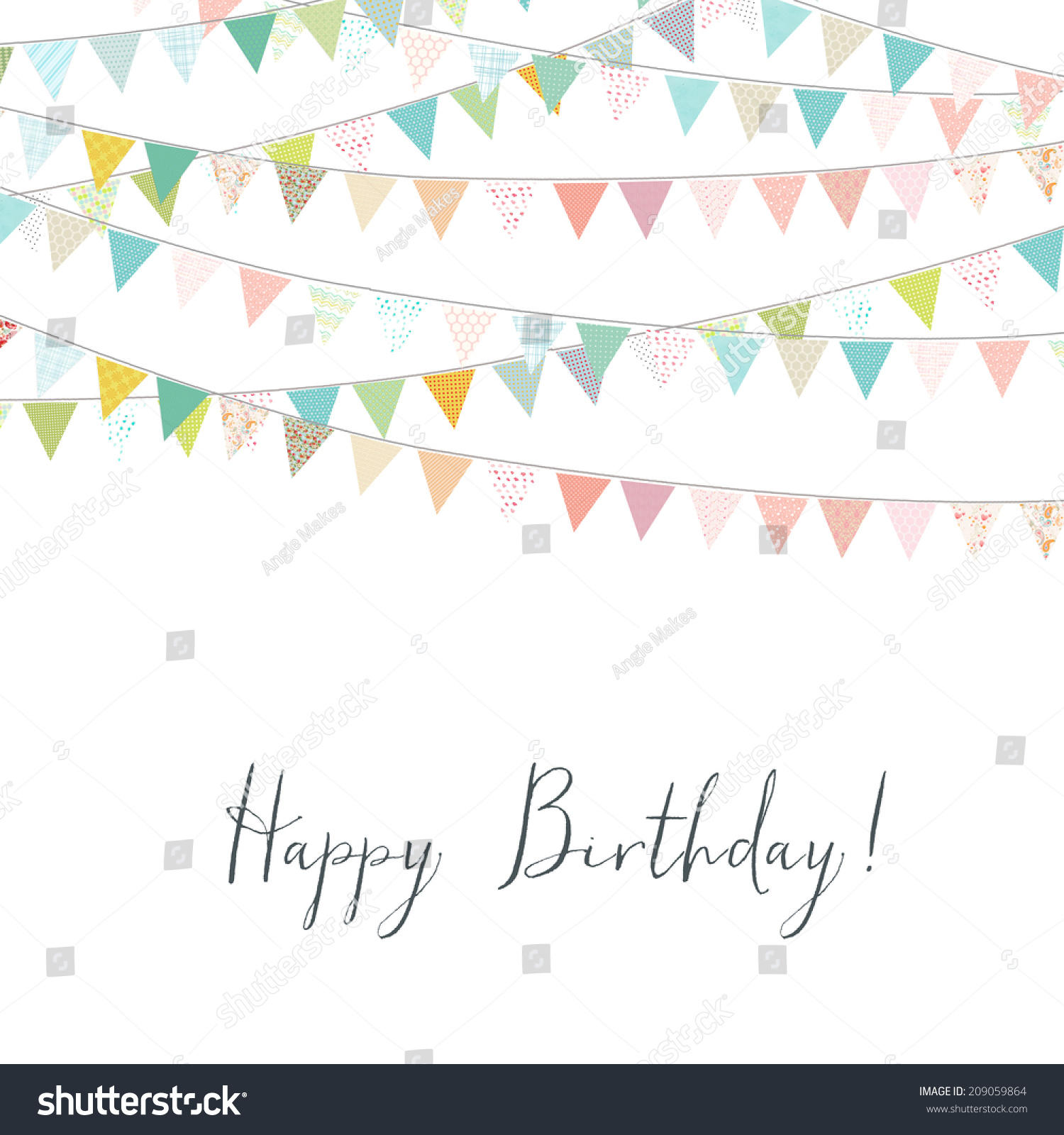 Happy Birthday Card Colorful Bunting Flags Stock Illustration 209059864 - Shu...