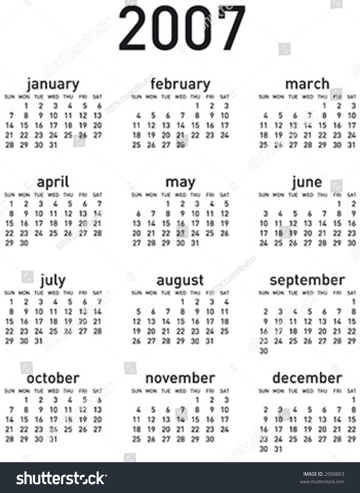 simple 2007 calendar vertical layout vector stock vector
