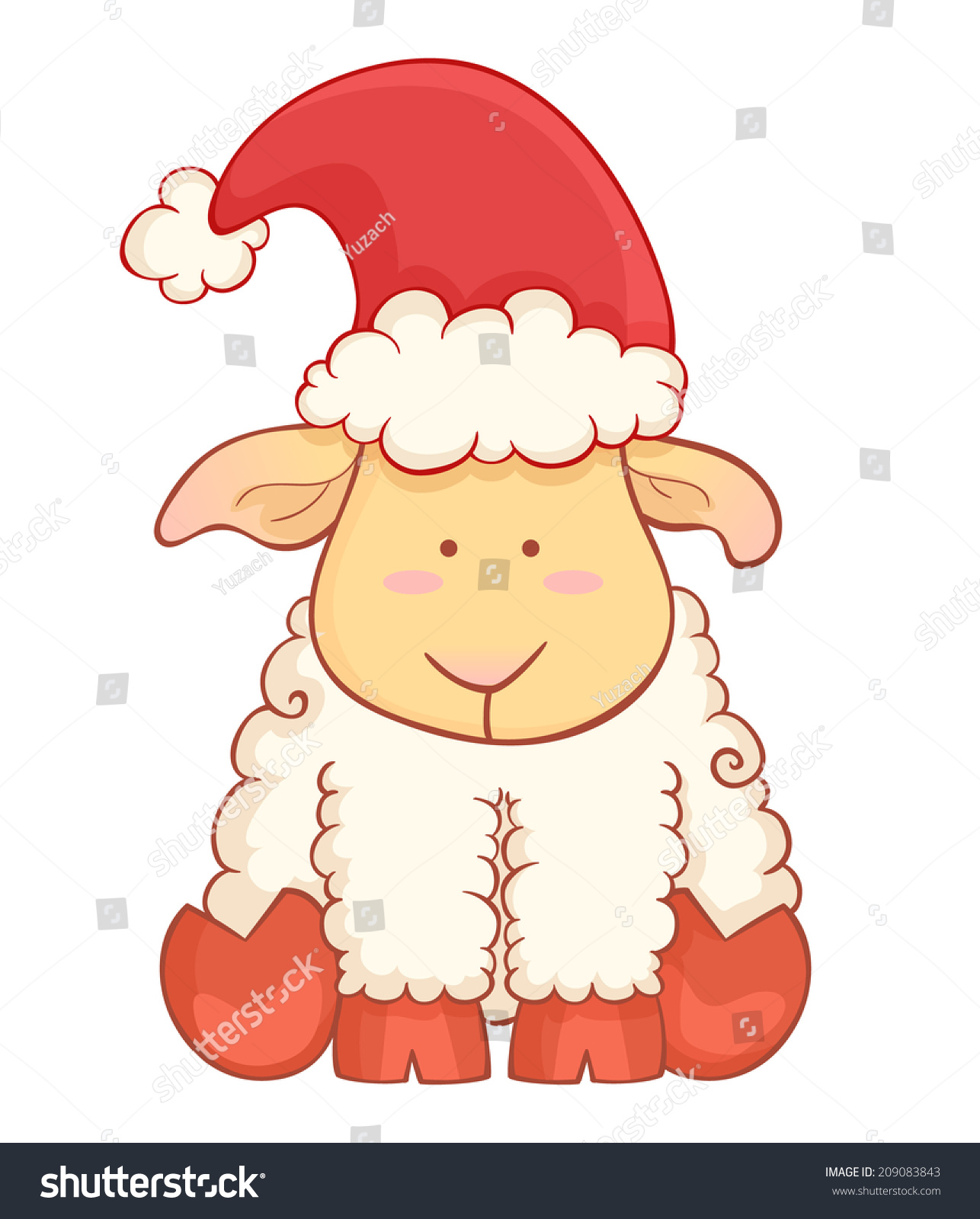 Fox with a hat new year or christmas animal isolated on white - Cute Cartoon Baby Sheep Wearing Santa Hat Character Of Chinese New Year Symbol Isolated On White