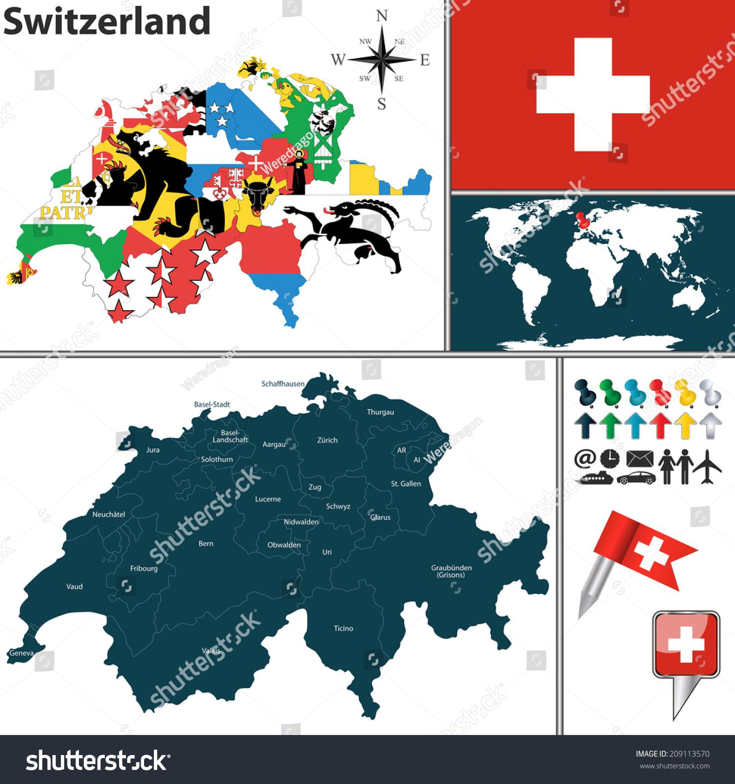 Vector Map Switzerland Regions Flags Location Stock Vector 2018