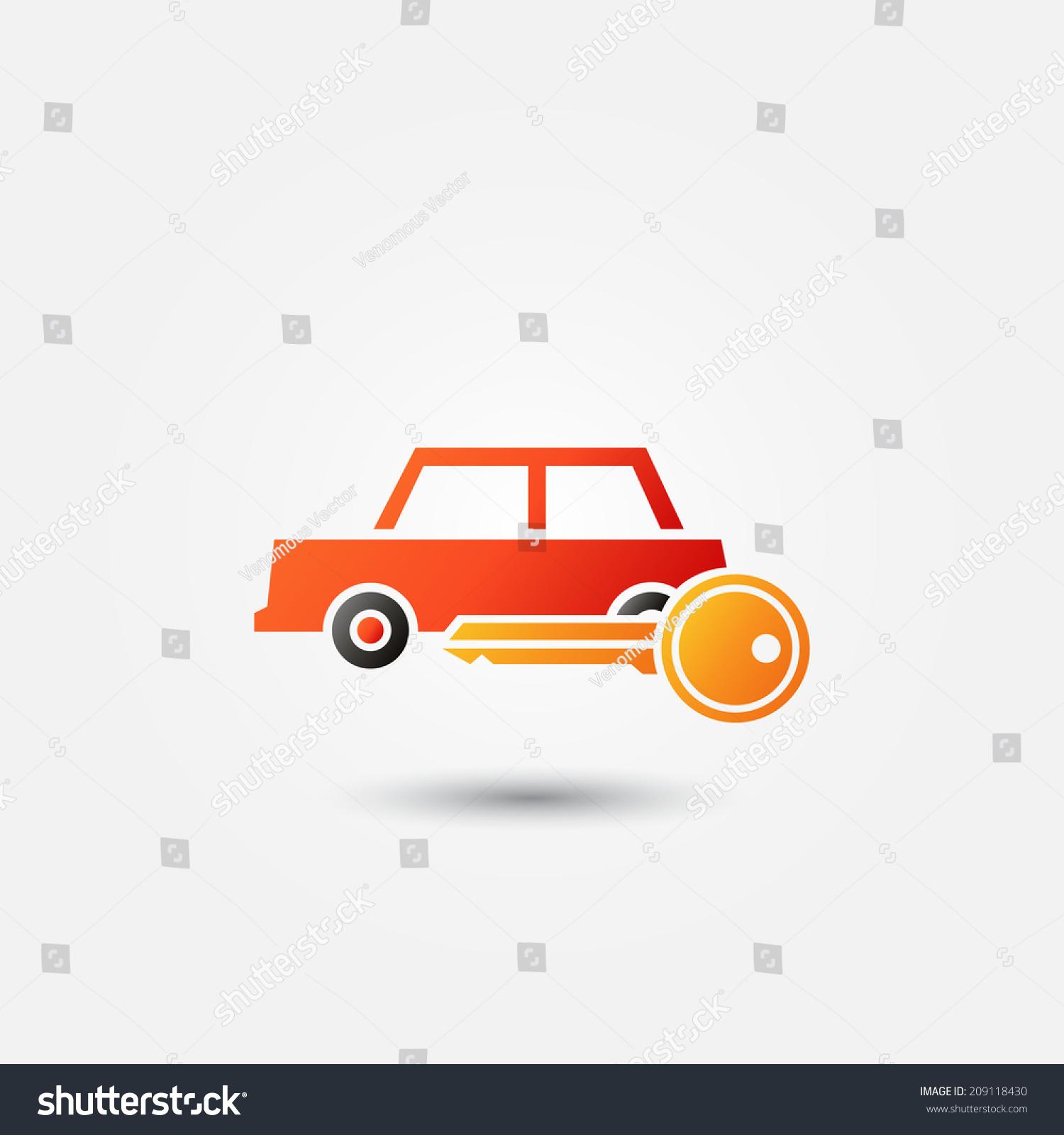Bright Red Car Rental Icon Vector Symbol Ez Canvas