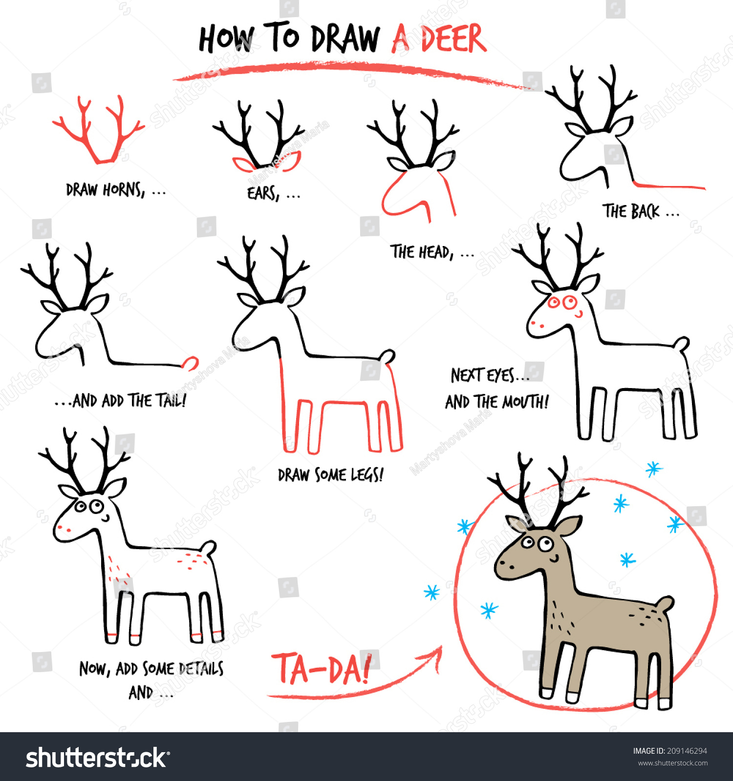 Drawing Tutorial How Draw Deer Step Stock Vector 209146294 ...