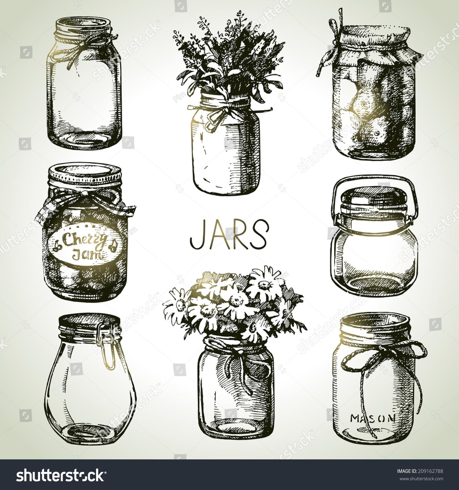 Rustic Mason Canning Jars Hand Drawn Stock Vector