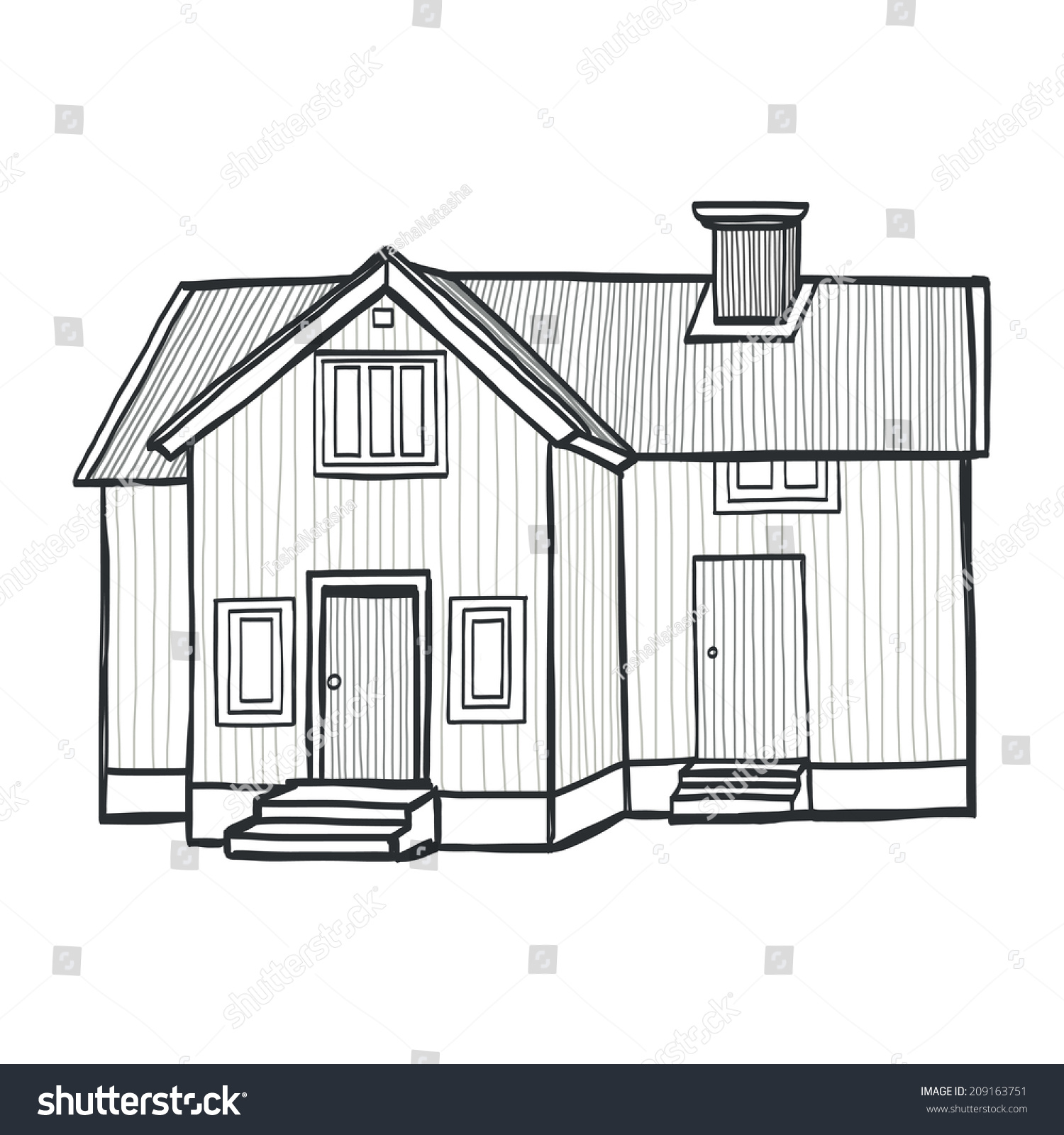 Hand drawn sketchy scandinavian house freehand stock for House sketches from photos