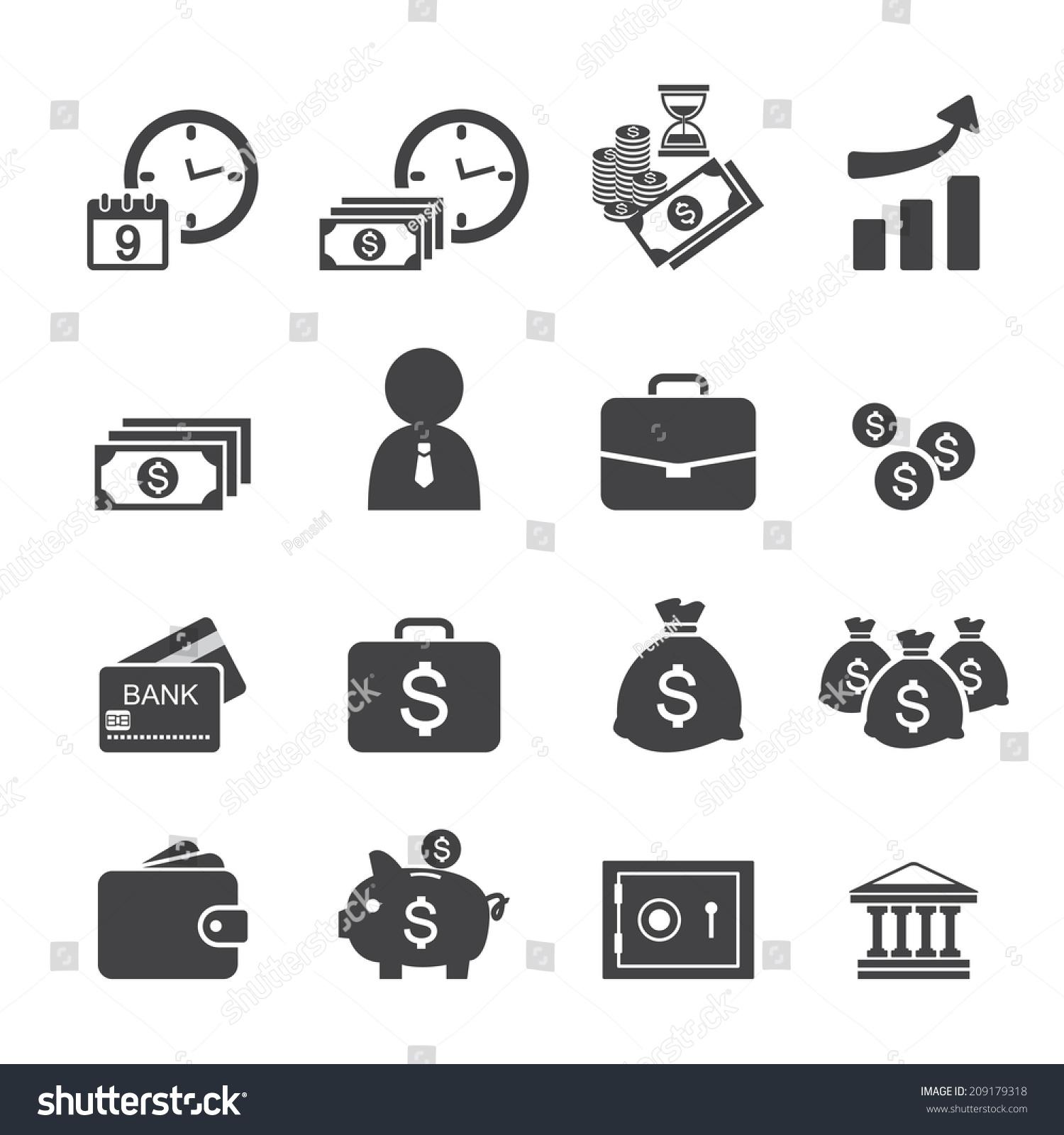 Finance Icon Set: Money And Finance Icon Set Stock Vector 209179318
