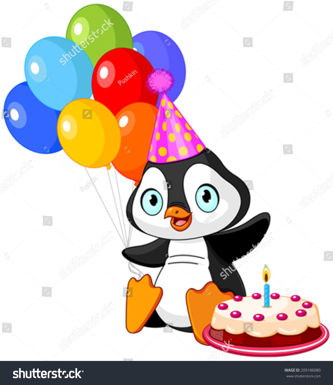 Cute Penguin With Party Hat Holding Balloons Stock Vector