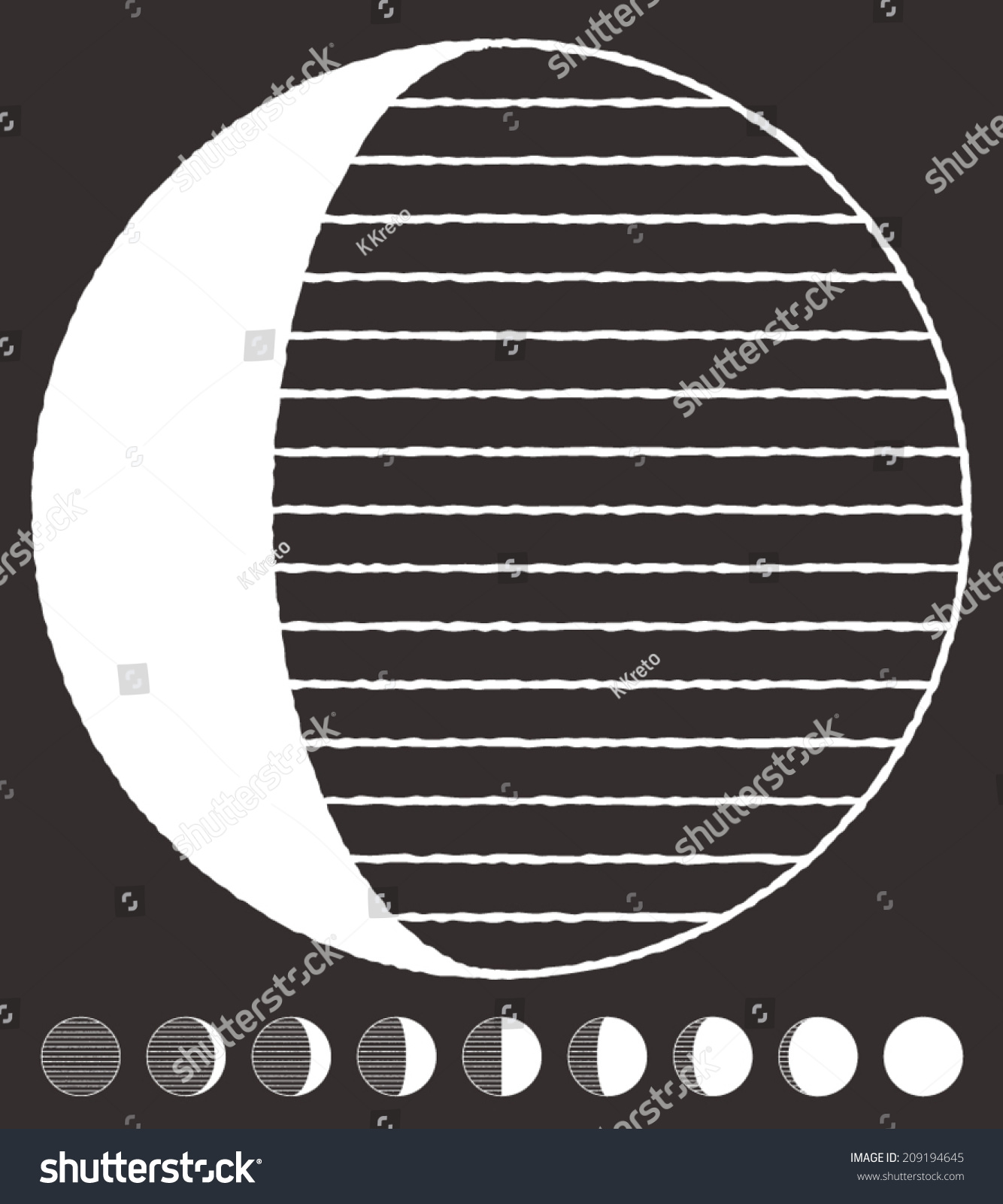 Stylized Moon Phases Design With Noisy Contours Vector Graphics Set Logo Template