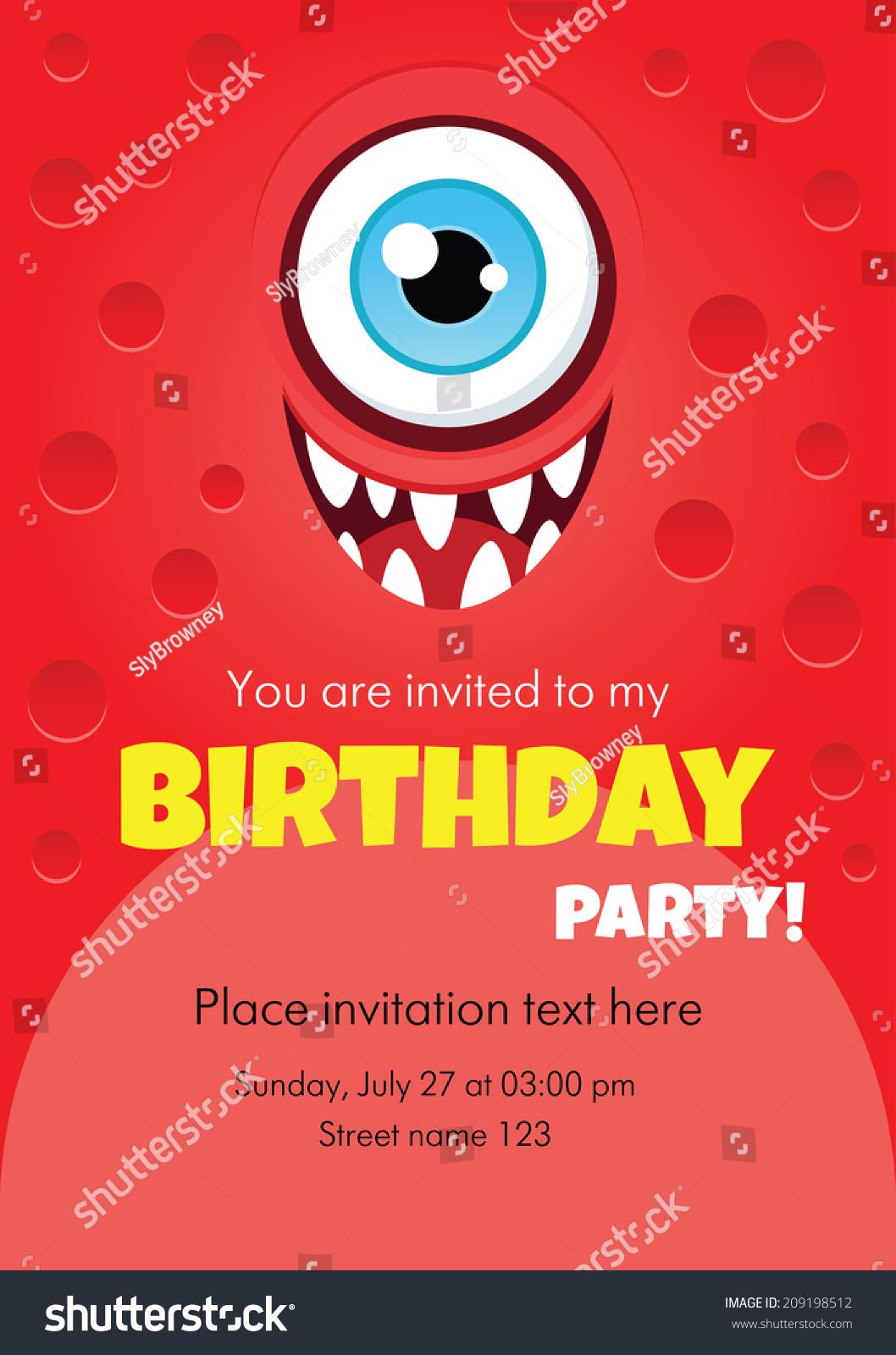 Vector Birthday Invitation Card Funny Cartoon Stock Vector (Royalty ...