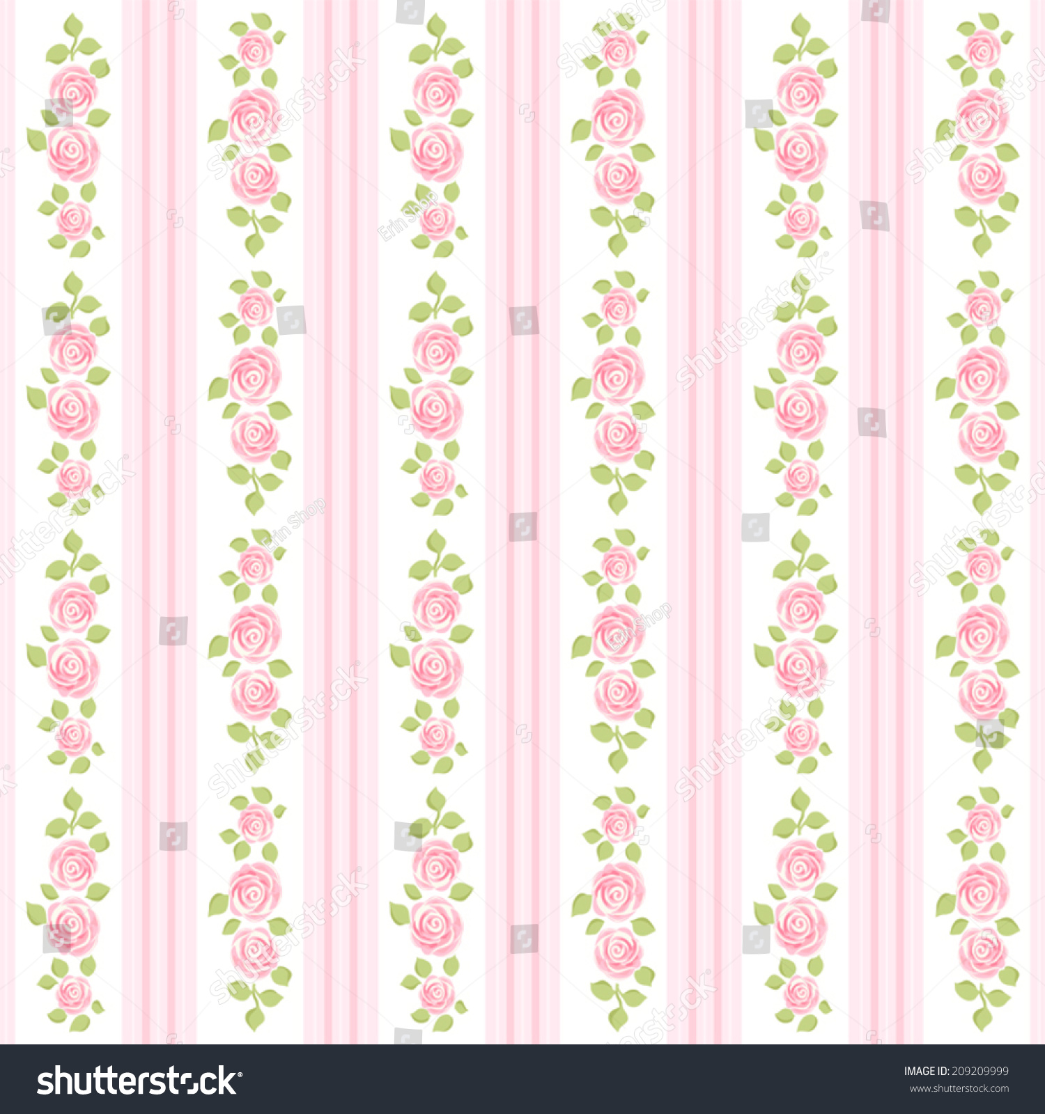 Retro Wallpaper With Roses On Striped Background In Shabby Chic Style