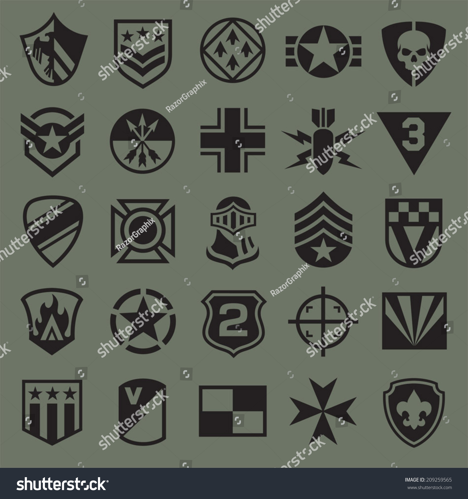 Military Symbol Icons 2 Stock Vector 209259565 Shutterstock