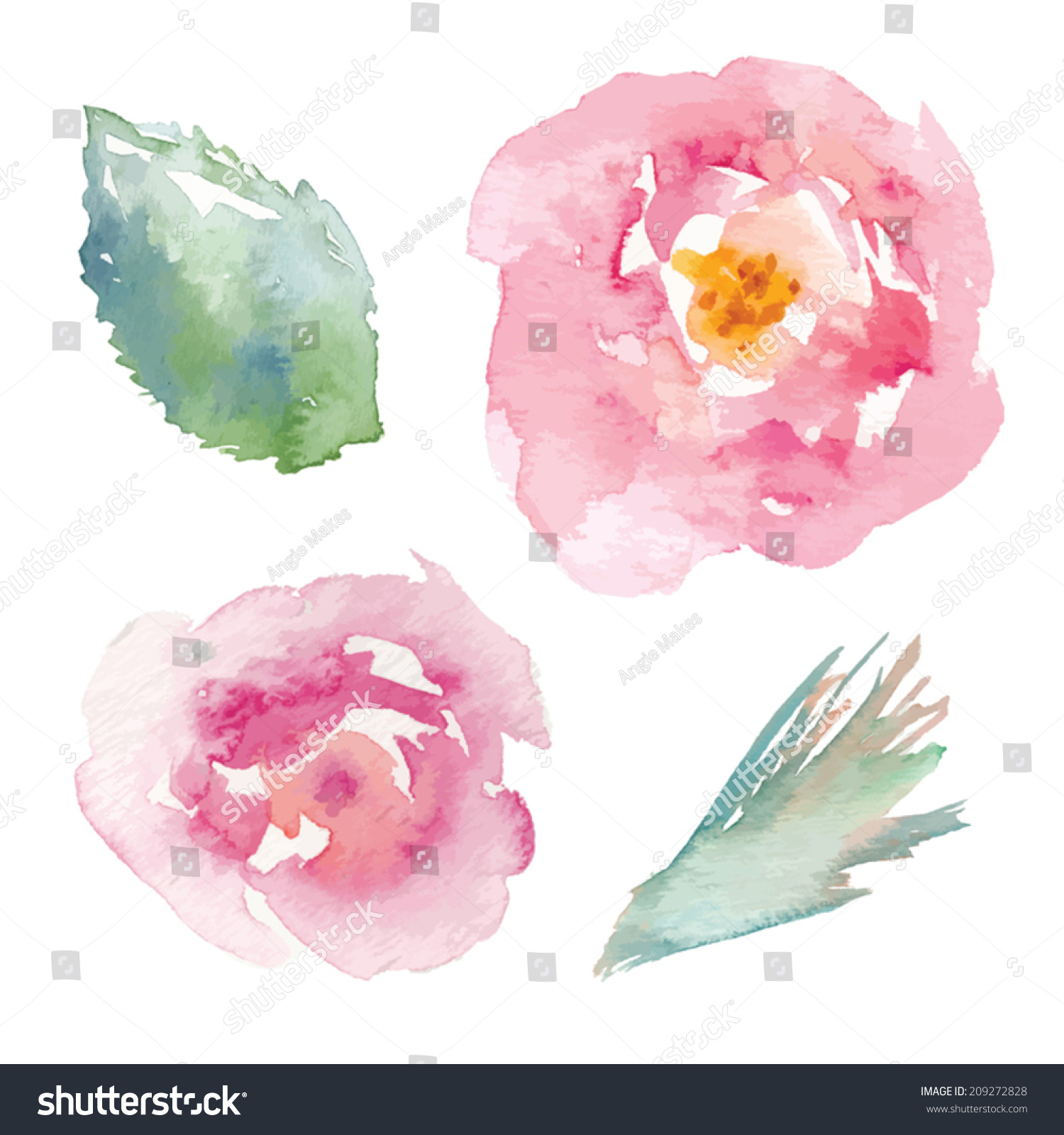 Watercolor Flower Vector Watercolor Rose Vector Stock Vector ...