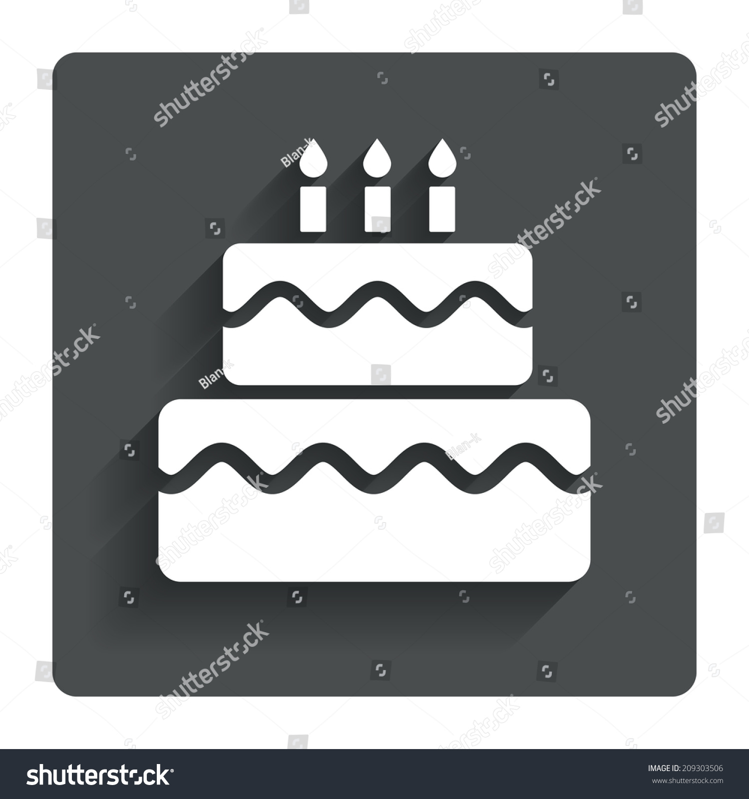 Birthday Cake Sign Icon Cake Burning Stock Illustration 209303506