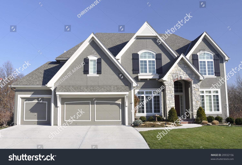 Neat average suburban family house living stock photo for Family in house