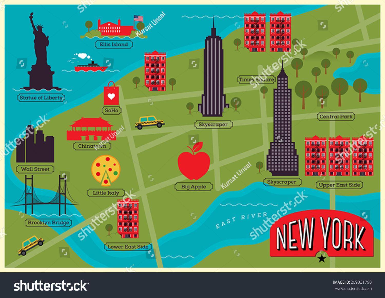 Cartoon Map Of New York City.City Map New York City United Stock Vector Royalty Free 209331790