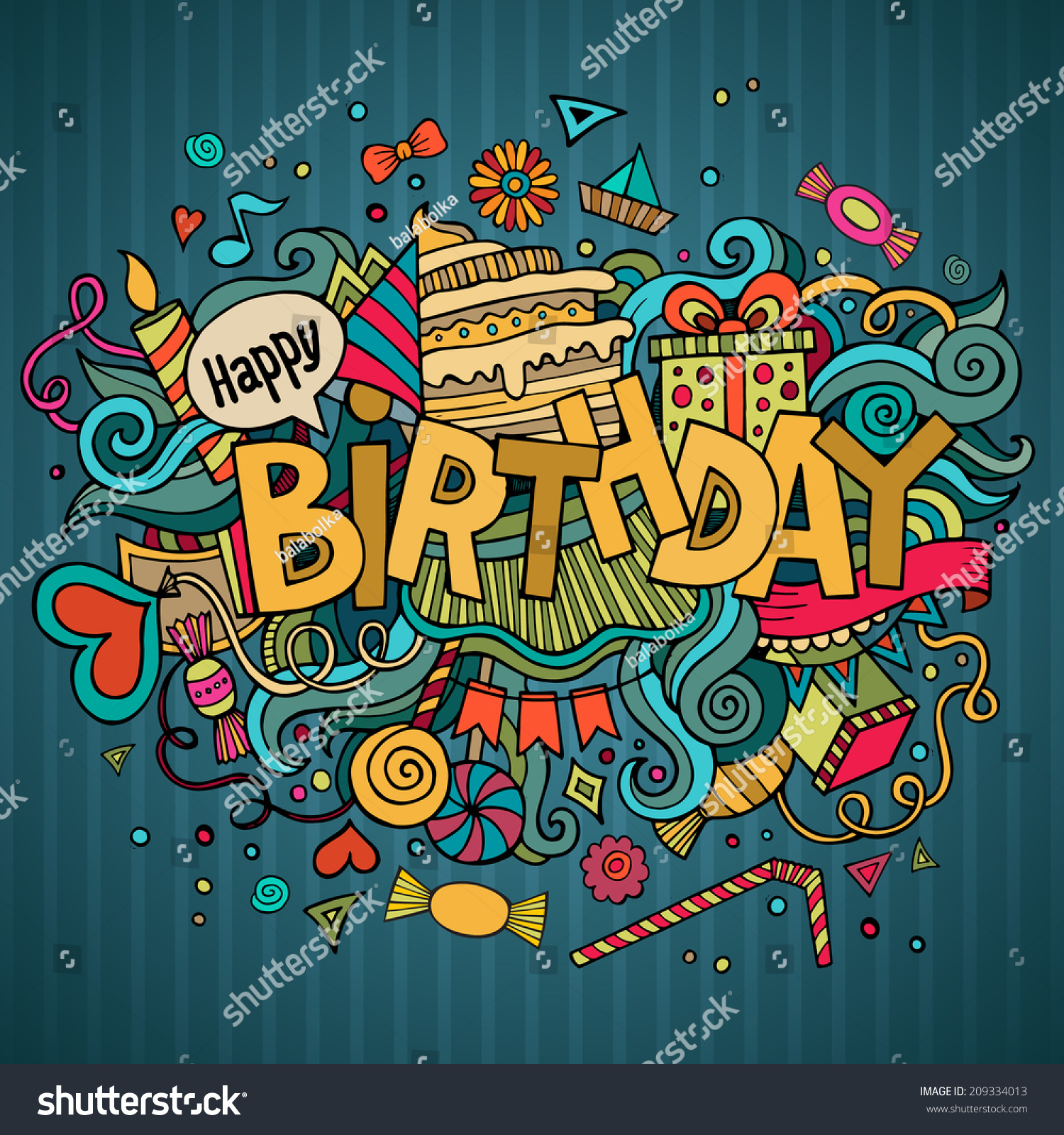Stock vector music hand lettering and doodles elements - Birthday Hand Lettering And Doodles Elements Background Vector Illustration