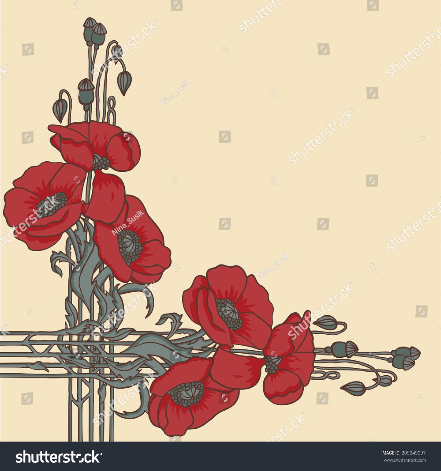 Art Nouveau Inspired California Poppy By Mason Larose: Retro Elegant Artnouveau Style Frame Poppies Stock Vector