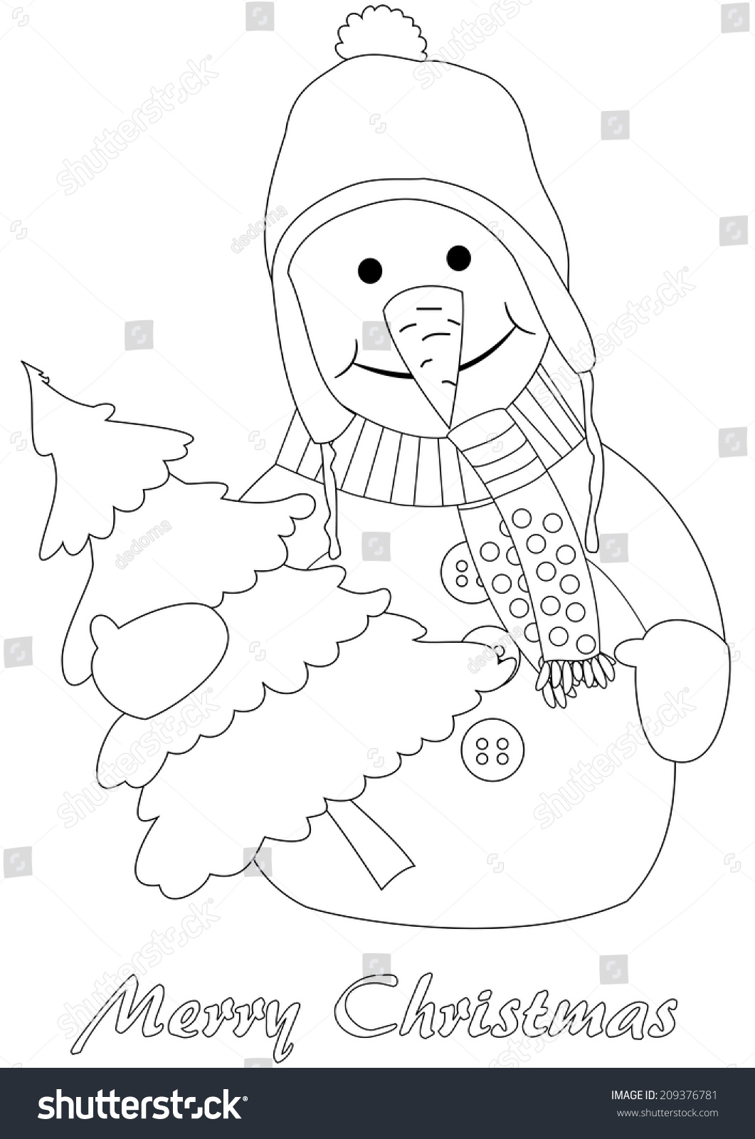 happy snowman christmas tree coloring page stock vector 209376781